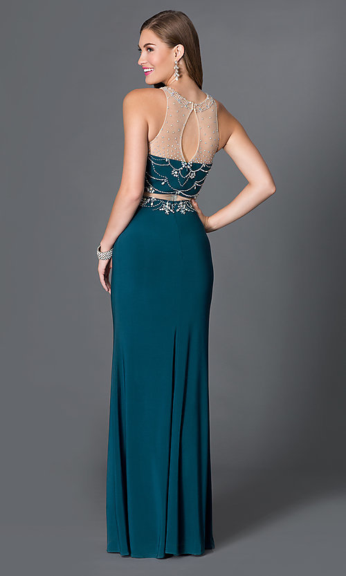 Image of long mock two-piece sleeveless prom dress with beads. Style: DQ-9200 Back Image