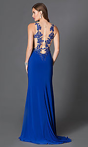Image of floor-length sleeveless illusion embroidered bodice side-slit dress Style: DQ-9216 Back Image