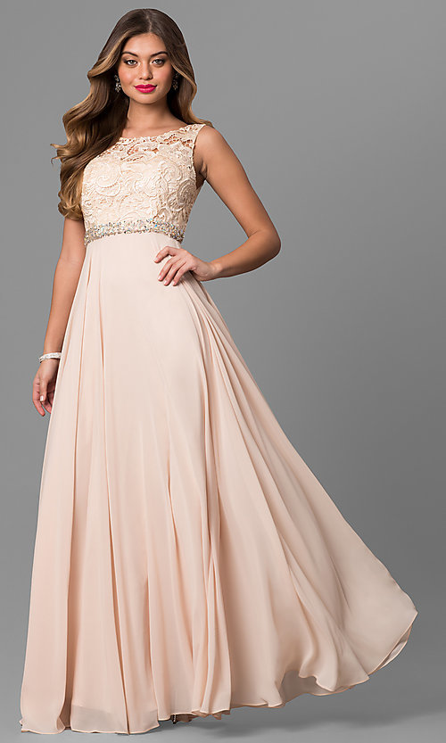 Long Laced-Bodice Chiffon Prom Dress-PromGirl