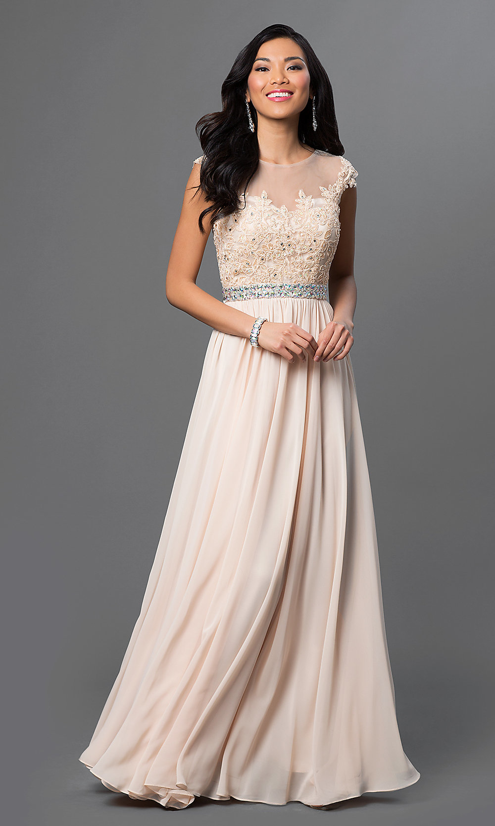 Long Lace-Top Sweetheart Prom Dress