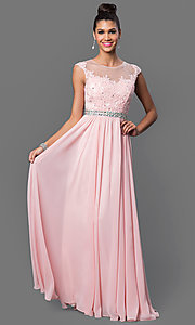 Image of embroidered-lace sheer-illusion long prom dress Style: DQ-9400 Detail Image 1
