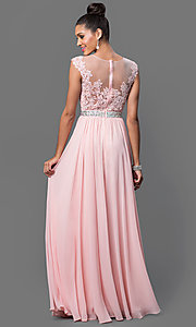 Image of embroidered-lace sheer-illusion long prom dress Style: DQ-9400 Back Image