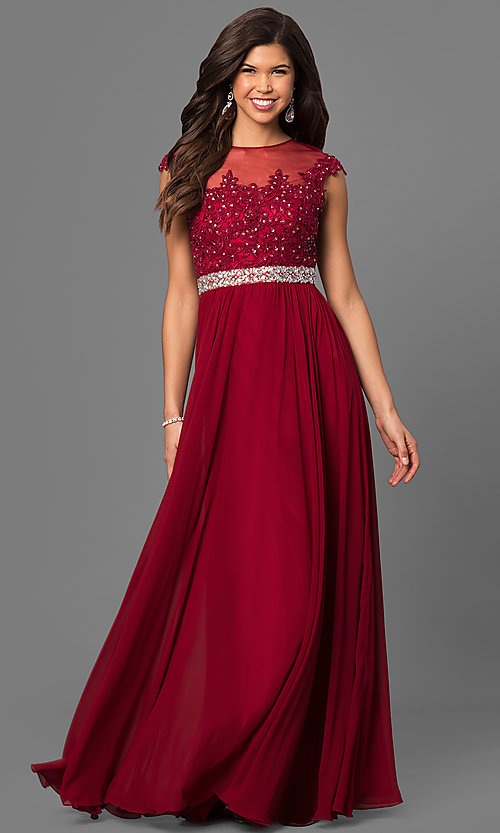 Image of embroidered-lace sheer-illusion long prom dress Style: DQ-9400 Detail Image 3
