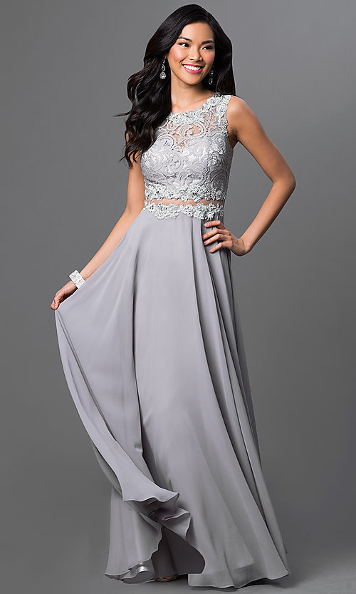 Image of floor length sleeveless illusion sweetheart lace bodice jewel details dress Style: DQ-9322 Detail Image 3