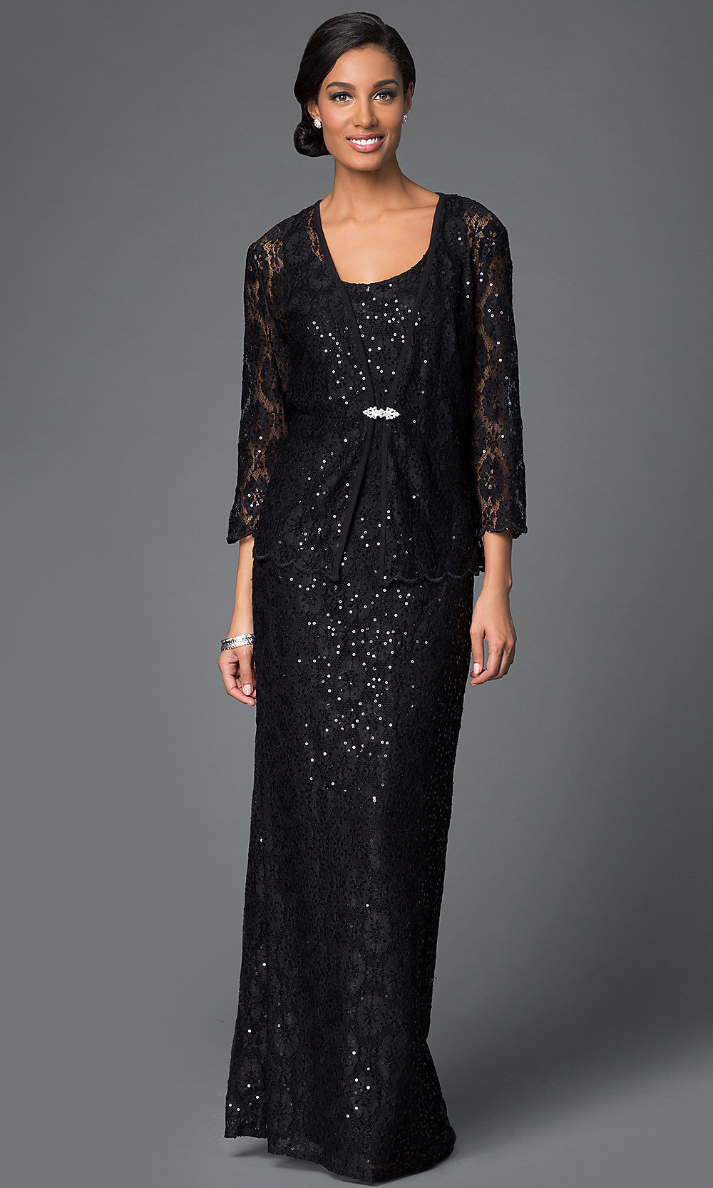 Long Sequined-Lace Dress with Jacket - PromGirl