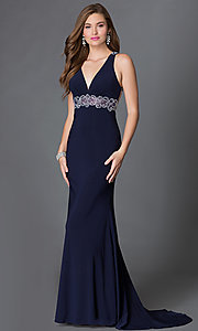 Empire-Waist V-Neck Long Prom Dress with Jewels