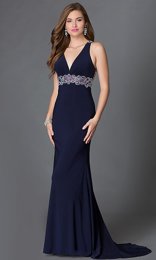 Image of empire-waist v-neck long prom dress with jewels. Style: DQ-9275 Front Image