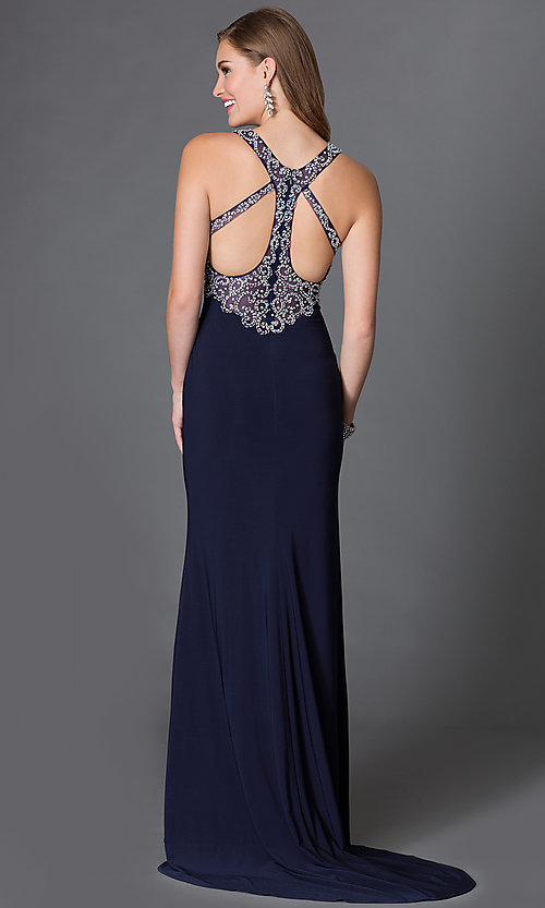 Image of empire-waist v-neck long prom dress with jewels. Style: DQ-9275 Back Image