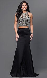Long Two-Piece Prom Dress with Jeweled Top