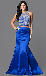 Image of long two-piece prom dress with jeweled top. Style: DQ-9268 Detail Image 3