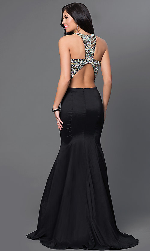 Image of long two-piece prom dress with jeweled top. Style: DQ-9268 Back Image