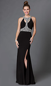 T-Back Floor Length Jewel Embellished Dress