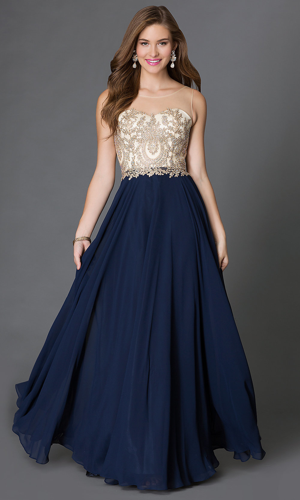 Long Sleeveless Jeweled Lace Prom Dress - PromGirl