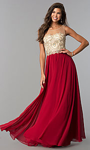 Image of floor length jeweled sheer lace embellished bodice chiffon skirt dress  Style: DQ-9247 Detail Image 2