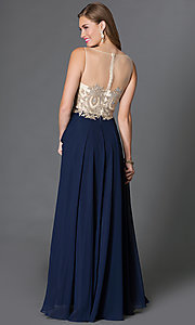 Image of floor length jeweled sheer lace embellished bodice chiffon skirt dress  Style: DQ-9247 Back Image