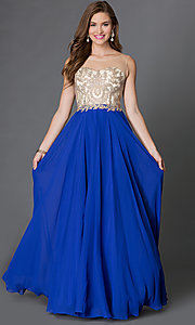 Image of floor length jeweled sheer lace embellished bodice chiffon skirt dress  Style: DQ-9247 Detail Image 3