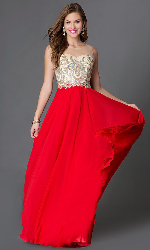 Image of floor length jeweled sheer lace embellished bodice chiffon skirt dress  Style: DQ-9247 Detail Image 1