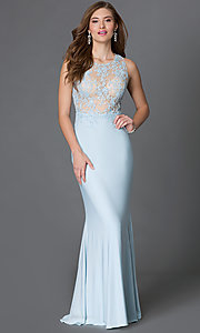 Image of long sheer-illusion sleeveless open-back dress Style: DQ-9278 Detail Image 1