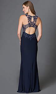 Image of long sheer-illusion sleeveless open-back dress Style: DQ-9278 Back Image