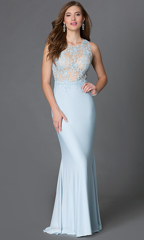 Image of long sheer-illusion sleeveless open-back dress Style: DQ-9278 Front Image