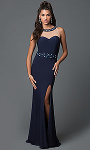 Long Sleeveless Jersey Prom Dress with Sheer Neckline and Bead Detailing