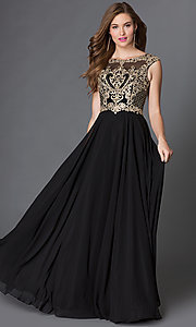 Image of chiffon long prom dress with embroidered-lace bodice. Style: DQ-9266 Front Image