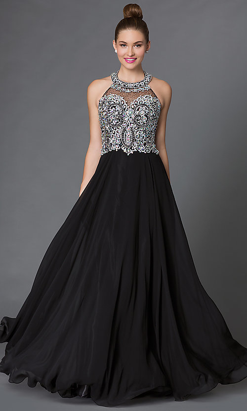Image of long halter prom dress with jeweled bodice  Style: DQ-9233 Front Image