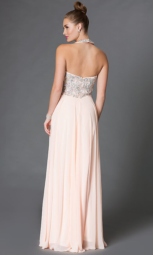 Image of long halter prom dress with jeweled bodice  Style: DQ-9233 Back Image