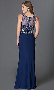 Image of illusion-bodice long sleeveless formal dress Style: DQ-9223 Back Image