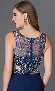 Image of illusion-bodice long sleeveless formal dress Style: DQ-9223 Detail Image 2