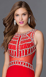 Image of long sleeveless jersey dress with jeweled bodice Style: DQ-9230 Detail Image 1
