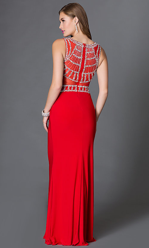 Image of long sleeveless jersey dress with jeweled bodice Style: DQ-9230 Back Image