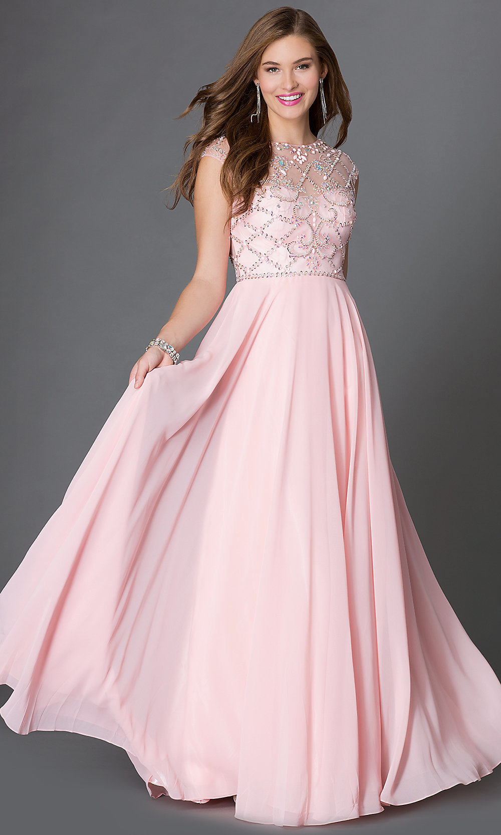 Long Jeweled Cap Sleeve Prom Dress Promgirl