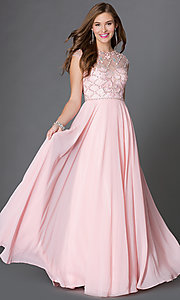 Image of cap-sleeve prom dress with embellished sheer bodice Style: DQ-9279 Detail Image 1