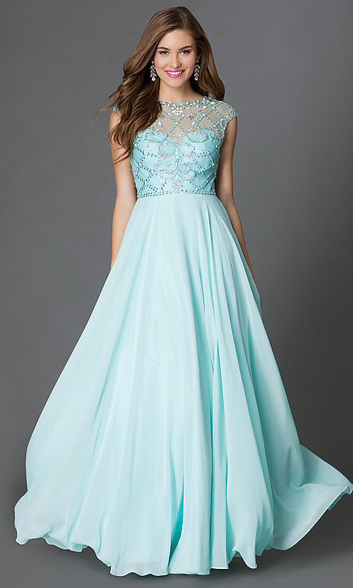 Image of cap-sleeve prom dress with embellished sheer bodice Style: DQ-9279 Detail Image 3