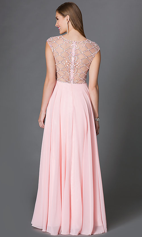 Image of cap-sleeve prom dress with embellished sheer bodice Style: DQ-9279 Back Image