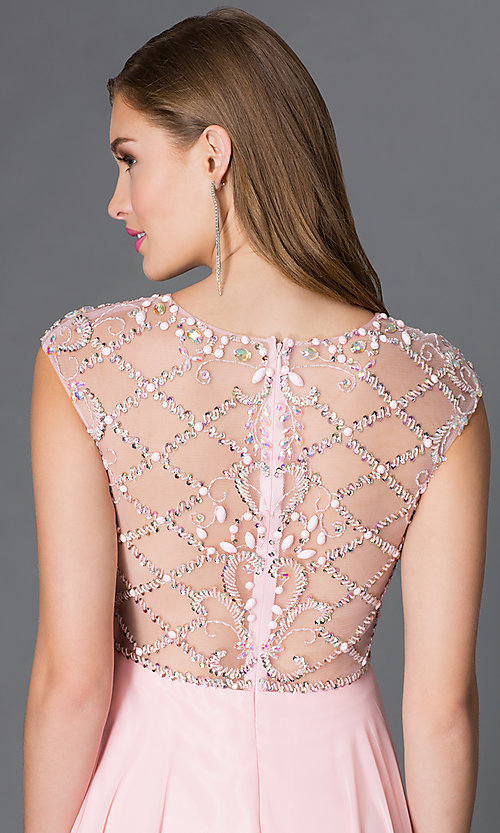 Image of cap-sleeve prom dress with embellished sheer bodice Style: DQ-9279 Detail Image 2