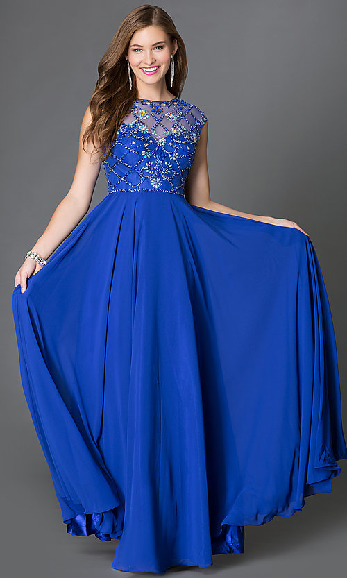 Image of cap-sleeve prom dress with embellished sheer bodice Style: DQ-9279 Front Image