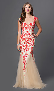 Red Beaded Nude Long Open Back Prom Dress