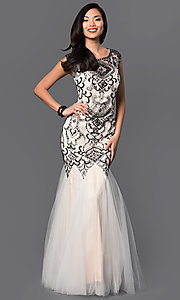 Dropped Waist Sleeveless Floor Length Prom Dress with Bead Embellished Lace Bodice