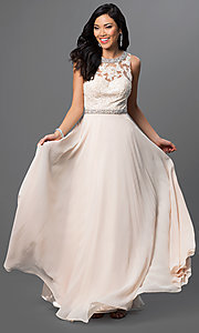 Image of sleeveless long open-back chiffon prom dress. Style: DQ-9281 Detail Image 1