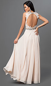 Image of sleeveless long open-back chiffon prom dress. Style: DQ-9281 Back Image