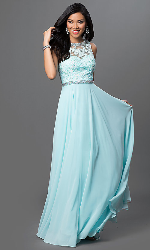 Image of sleeveless long open-back chiffon prom dress. Style: DQ-9281 Detail Image 2