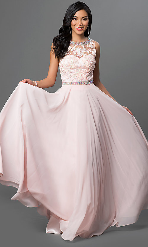 Image of sleeveless long open-back chiffon prom dress. Style: DQ-9281 Front Image