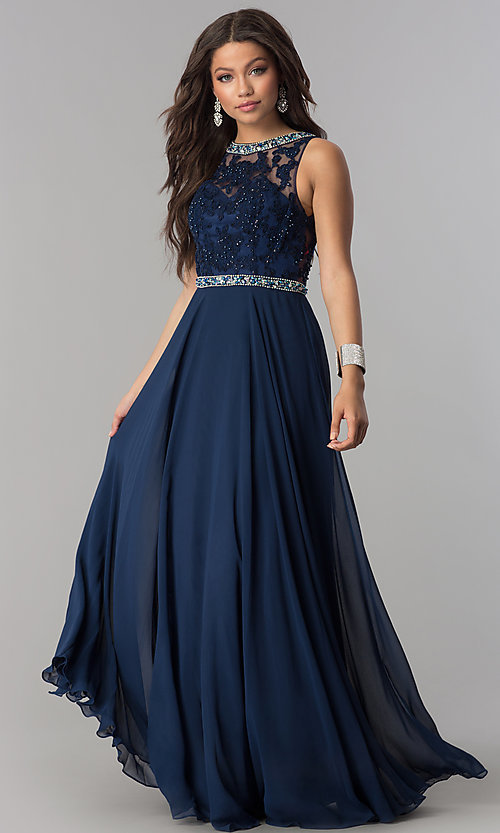 Image of sleeveless long open-back chiffon prom dress. Style: DQ-9281 Detail Image 3