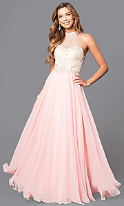 Image of high-neck illusion-sweetheart chiffon prom dress. Style: DQ-9293 Front Image