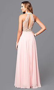 Image of high-neck illusion-sweetheart chiffon prom dress. Style: DQ-9293 Back Image