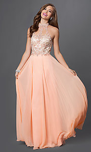 Image of high-neck illusion-sweetheart chiffon prom dress. Style: DQ-9293 Detail Image 3