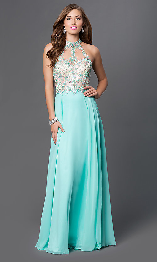 Image of high-neck illusion-sweetheart chiffon prom dress. Style: DQ-9293 Detail Image 2