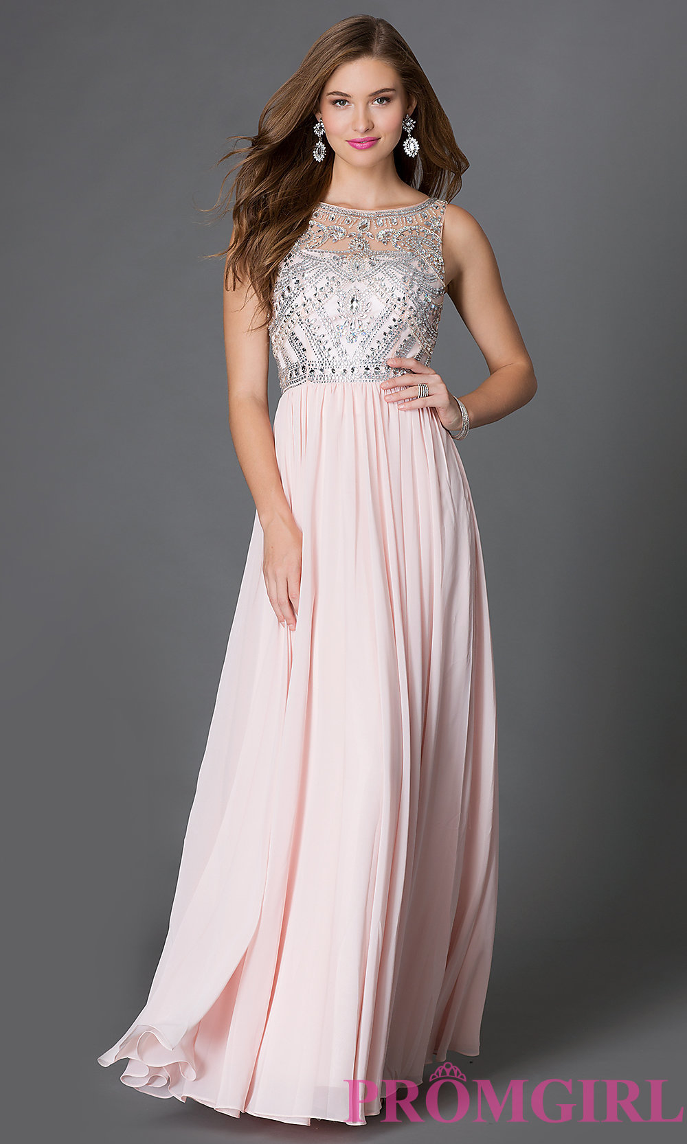 Jewelled Floor-Length Prom Dress - PromGirl